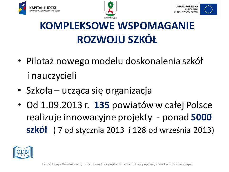 Pilotaż nowego modelu doskonalenia szkół i nauczycieli Szkoła – ucząca się organizacja Od 1.09.2013 r. 135 powiatów w całej Polsce realizuje innowacyj