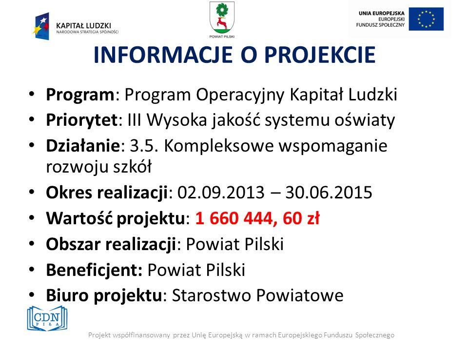 INFORMACJE O PROJEKCIE Program: Program Operacyjny Kapitał Ludzki Priorytet: III Wysoka jakość systemu oświaty Działanie: 3.5. Kompleksowe wspomaganie