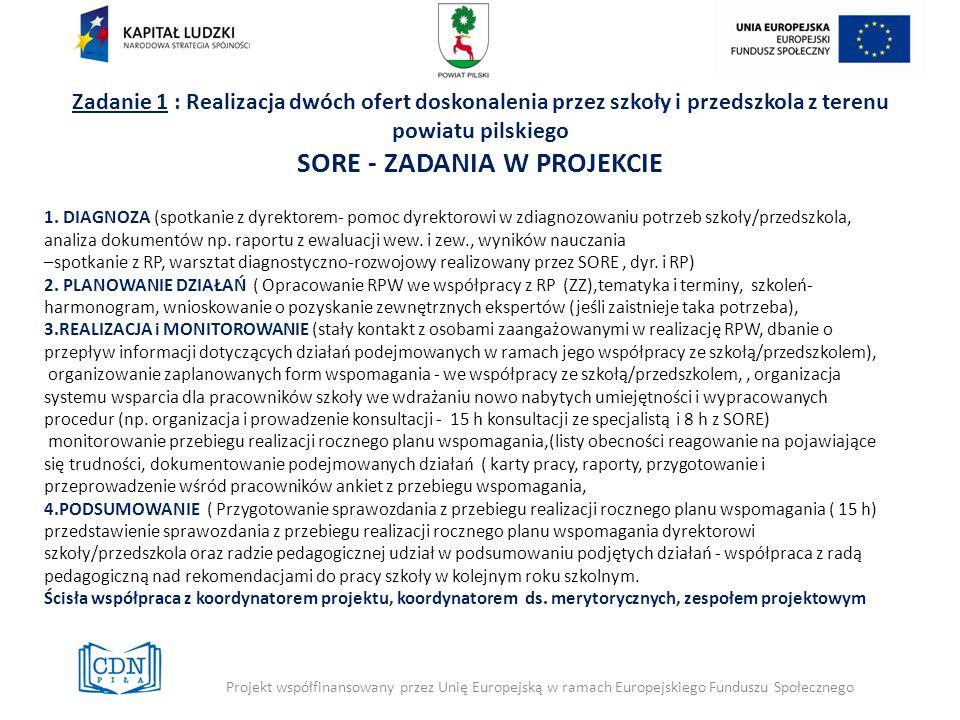 Zadanie 1 : Realizacja dwóch ofert doskonalenia przez szkoły i przedszkola z terenu powiatu pilskiego SORE - ZADANIA W PROJEKCIE 1. DIAGNOZA (spotkani