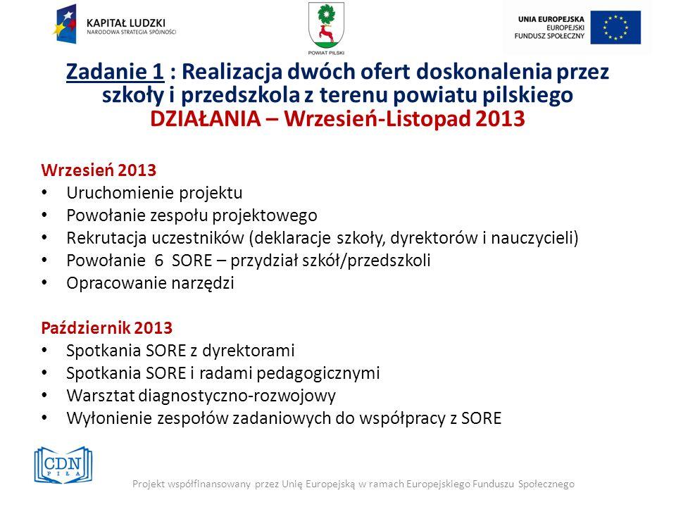 Wrzesień 2013 Uruchomienie projektu Powołanie zespołu projektowego Rekrutacja uczestników (deklaracje szkoły, dyrektorów i nauczycieli) Powołanie 6 SO