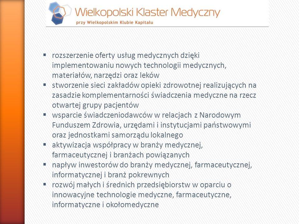 rozszerzenie oferty usług medycznych dzięki implementowaniu nowych technologii medycznych, materiałów, narzędzi oraz leków stworzenie sieci zakładów o