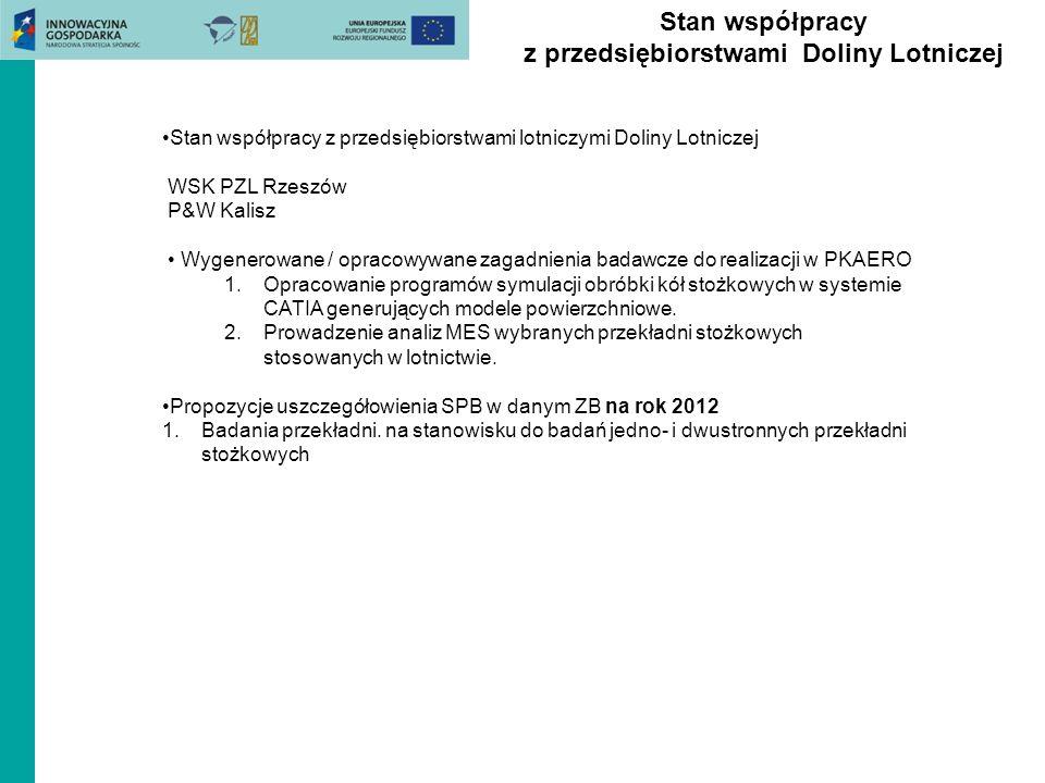 Stan współpracy z przedsiębiorstwami Doliny Lotniczej Stan współpracy z przedsiębiorstwami lotniczymi Doliny Lotniczej WSK PZL Rzeszów P&W Kalisz Wyge