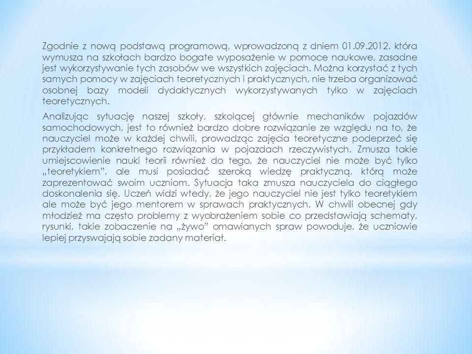 Zgodnie z nową podstawą programową, wprowadzoną z dniem 01.09.2012, która wymusza na szkołach bardzo bogate wyposażenie w pomoce naukowe, zasadne jest