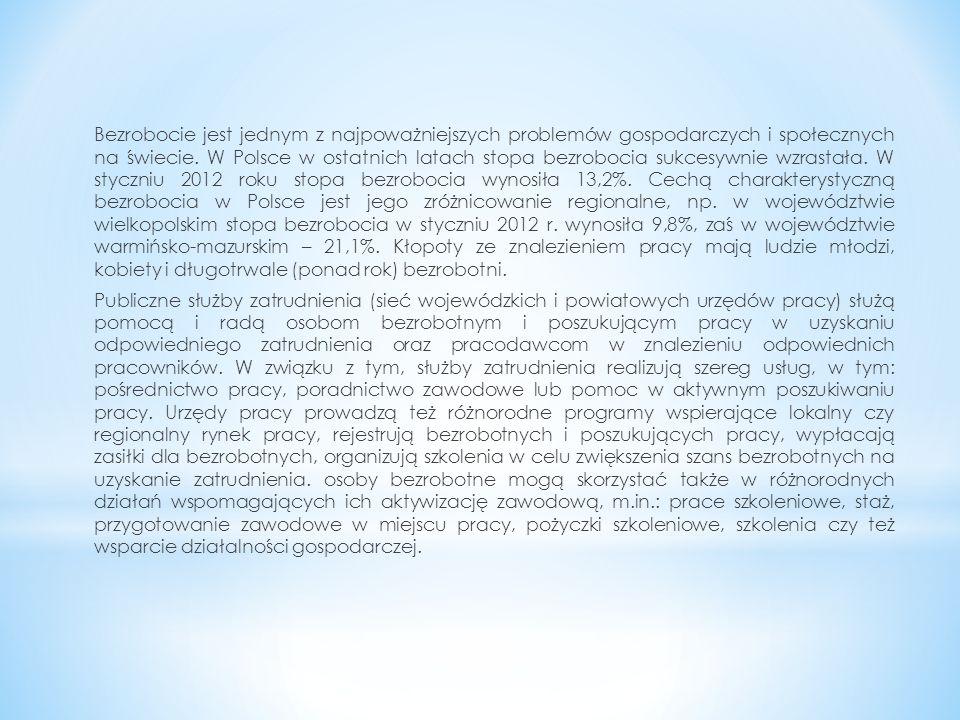 Aby uzyskać zasiłek dla bezrobotnych w Polsce muszą być, co do zasady, spełnione następujące warunki: * rejestracja w powiatowym urzędzie pracy, właściwym dla miejsca zameldowania, * wykonywanie pracy (na podstawie umowy o pracę, umowy zlecenia, działalności gospodarczej, itp.) łącznie przynajmniej 365 dni w okresie 18 miesięcy poprzedzających dzień rejestracji i osiąganie w tym okresie dochodu w wysokości co najmniej minimalnego wynagrodzenia, od którego była opłacana składka na ubezpieczenie społeczne i Fundusz Pracy, * brak możliwości podjęcia zatrudnienia lub aktywizacji zawodowej w ramach działań proponowanych przez powiatowy urząd pracy (w ramach np.