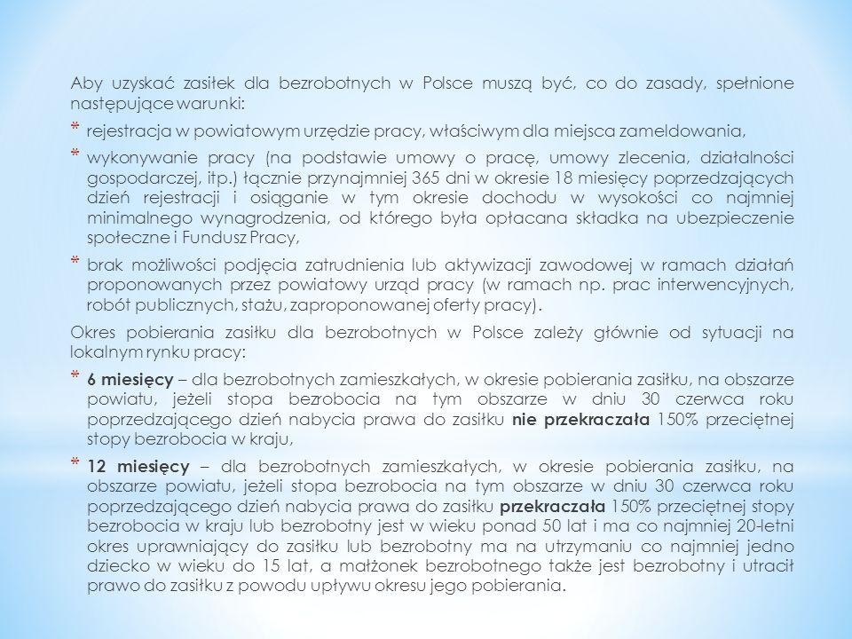 Aby uzyskać zasiłek dla bezrobotnych w Polsce muszą być, co do zasady, spełnione następujące warunki: * rejestracja w powiatowym urzędzie pracy, właśc