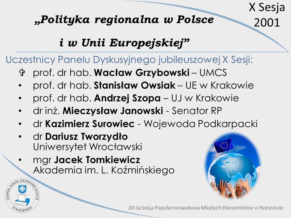 X Sesja 2001 Polityka regionalna w Polsce i w Unii Europejskiej Uczestnicy Panelu Dyskusyjnego jubileuszowej X Sesji: prof. dr hab. Wacław Grzybowski