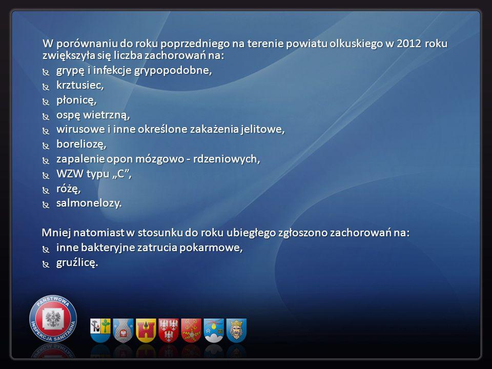 W porównaniu do roku poprzedniego na terenie powiatu olkuskiego w 2012 roku zwiększyła się liczba zachorowań na: grypę i infekcje grypopodobne, grypę