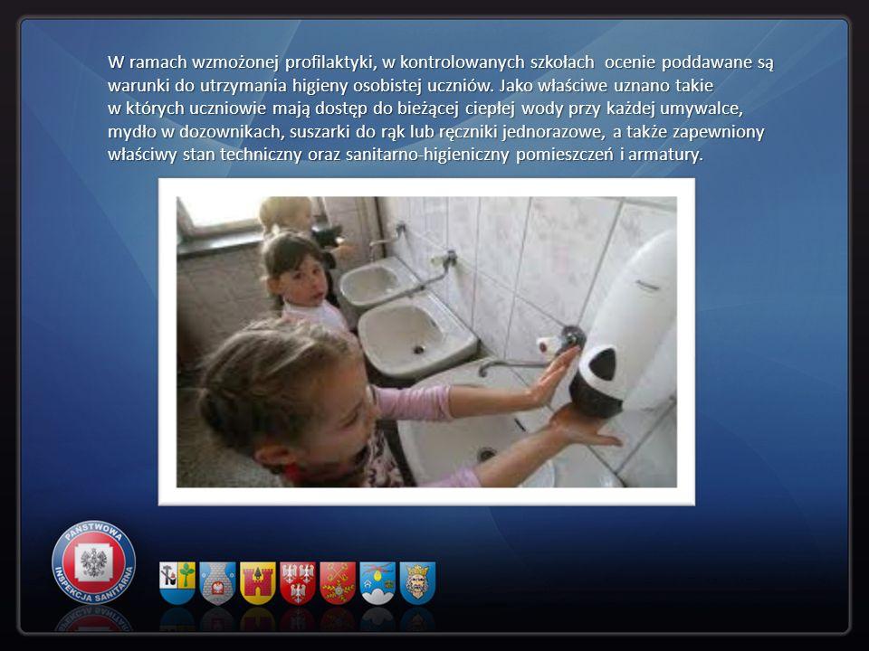 W ramach wzmożonej profilaktyki, w kontrolowanych szkołach ocenie poddawane są warunki do utrzymania higieny osobistej uczniów. Jako właściwe uznano t