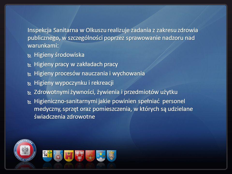 Inspekcja Sanitarna w Olkuszu realizuje zadania z zakresu zdrowia publicznego, w szczególności poprzez sprawowanie nadzoru nad warunkami: Higieny środ