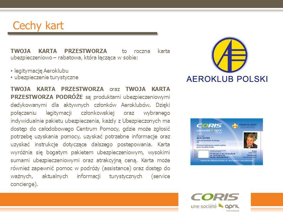 Cechy kart TWOJA KARTA PRZESTWORZA to roczna karta ubezpieczeniowo – rabatowa, która łącząca w sobie: legitymację Aeroklubu ubezpieczenie turystyczne