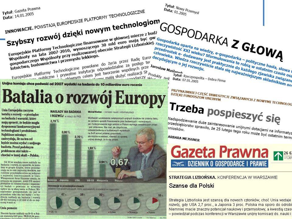 2000 - PRZYJĘCIE STRATEGII LIZBOŃSKIEJ (Lizbona, Rada Europejska) 2002 - WZROST NAKŁADÓW NA B+R DO 3.0% PKB W 2010 R.