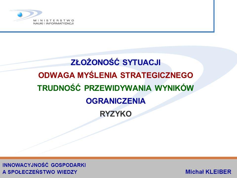 PROJEKTY CELOWE NOT PROJEKTY CELOWE skierowane do małych i średnich przedsiębiorstw konkursy organizowane na zlecenie Ministra Nauki i Informatyzacji przez Naczelną Organizację Techniczną INNOWACYJNOŚĆ GOSPODARKI A SPOŁECZEŃSTWO WIEDZY Michał KLEIBER W LATACH 2001-2005 PRZEZNACZONO NA TEN CEL 70 mln zł ZREALIZOWANO 343 PROJEKTÓW ZA 52 509 885 zł OSIĄGNIĘTO WZROST SPRZEDAŻY I NOWE MIEJCA PRACY