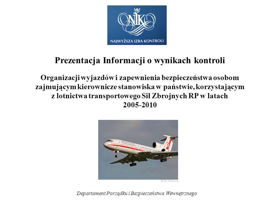 Departament Porządku i Bezpieczeństwa Wewnętrznego Prezentacja Informacji o wynikach kontroli Organizacji wyjazdów i zapewnienia bezpieczeństwa osobom