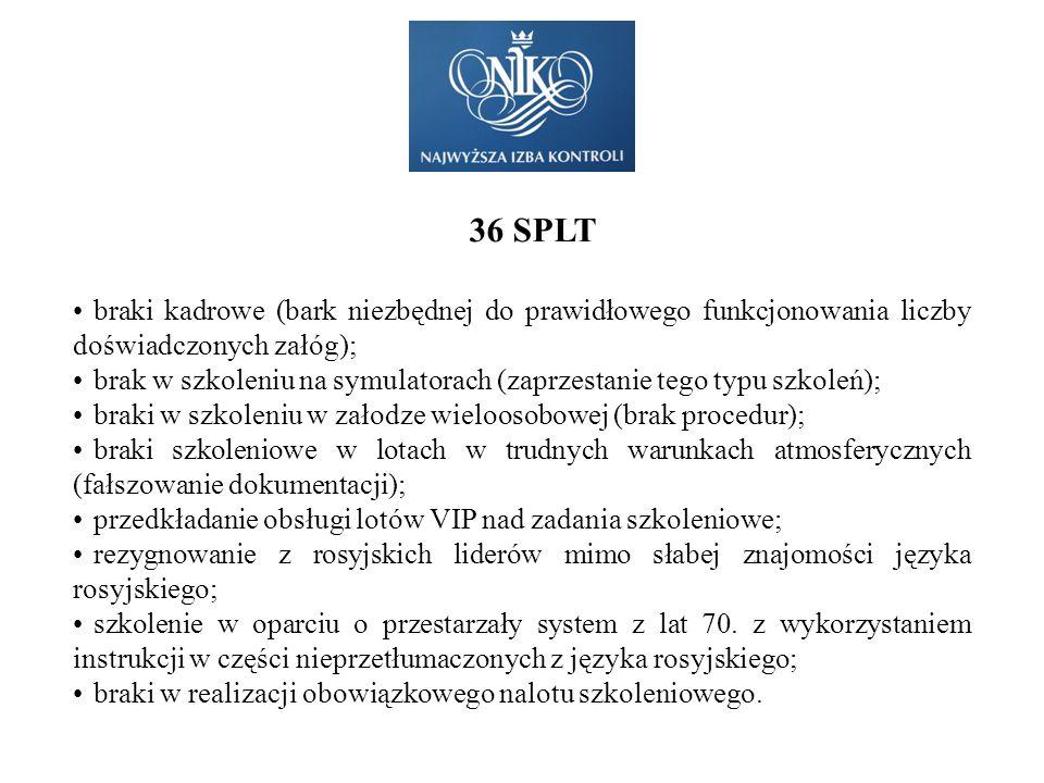36 SPLT braki kadrowe (bark niezbędnej do prawidłowego funkcjonowania liczby doświadczonych załóg); brak w szkoleniu na symulatorach (zaprzestanie teg