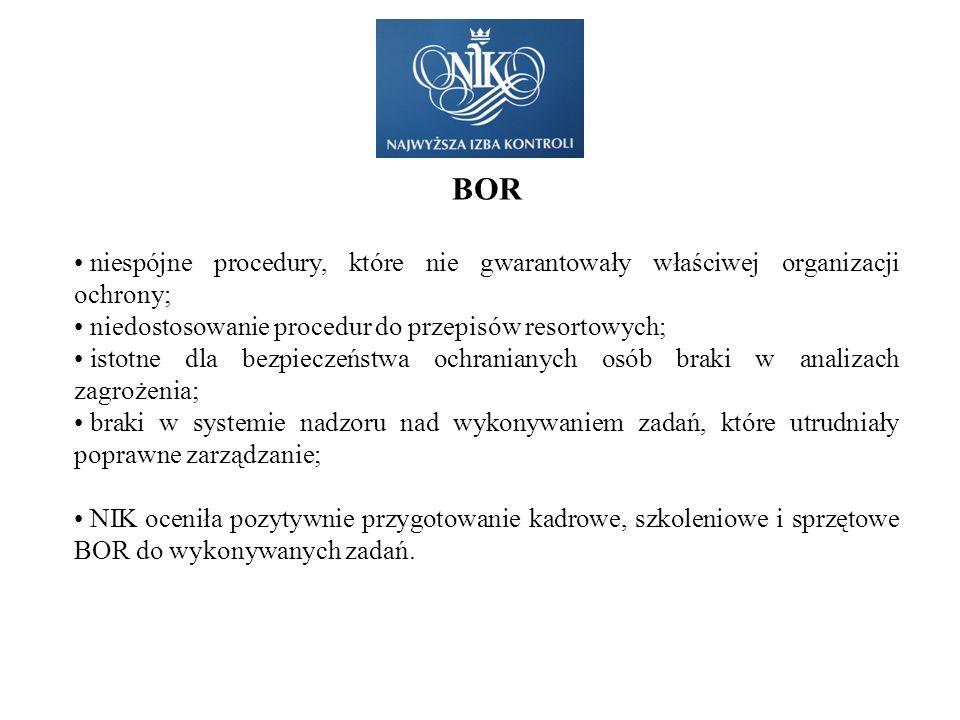 BOR niespójne procedury, które nie gwarantowały właściwej organizacji ochrony; niedostosowanie procedur do przepisów resortowych; istotne dla bezpiecz
