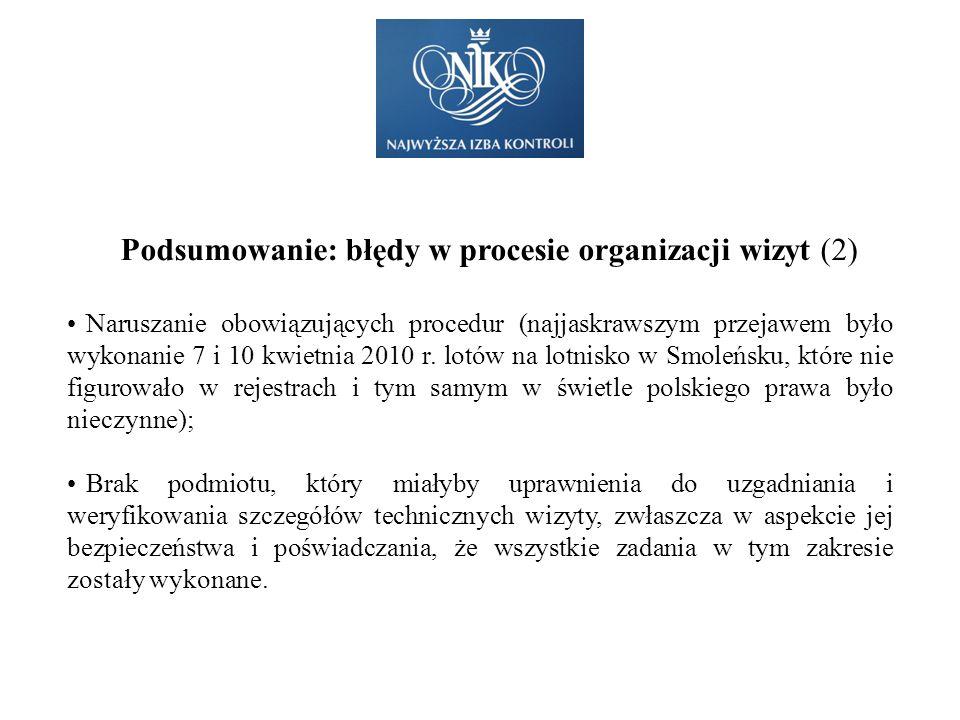 Podsumowanie: błędy w procesie organizacji wizyt (2) Naruszanie obowiązujących procedur (najjaskrawszym przejawem było wykonanie 7 i 10 kwietnia 2010