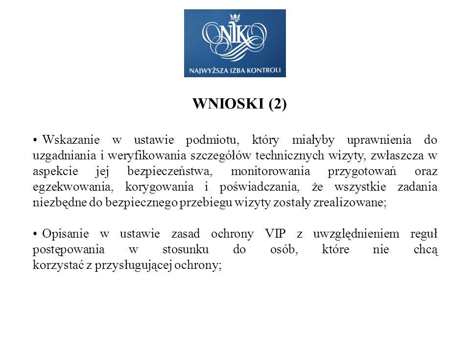 WNIOSKI (2) Wskazanie w ustawie podmiotu, który miałyby uprawnienia do uzgadniania i weryfikowania szczegółów technicznych wizyty, zwłaszcza w aspekci