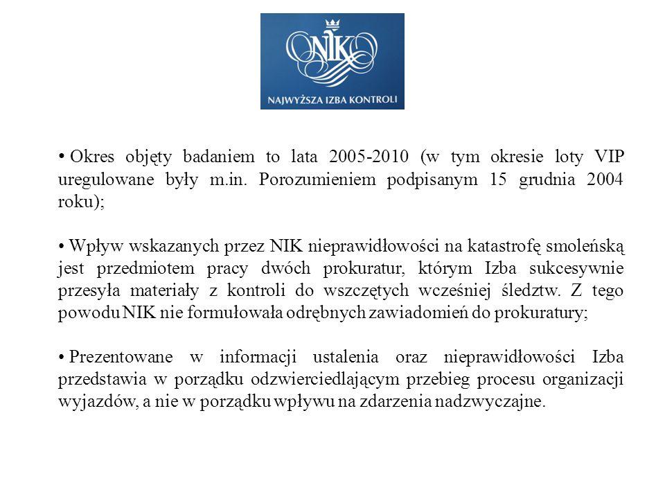 Okres objęty badaniem to lata 2005-2010 (w tym okresie loty VIP uregulowane były m.in. Porozumieniem podpisanym 15 grudnia 2004 roku); Wpływ wskazanyc