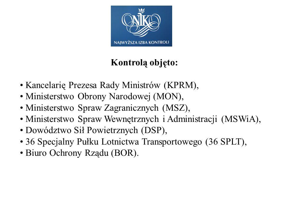 Kontrolą objęto: Kancelarię Prezesa Rady Ministrów (KPRM), Ministerstwo Obrony Narodowej (MON), Ministerstwo Spraw Zagranicznych (MSZ), Ministerstwo S