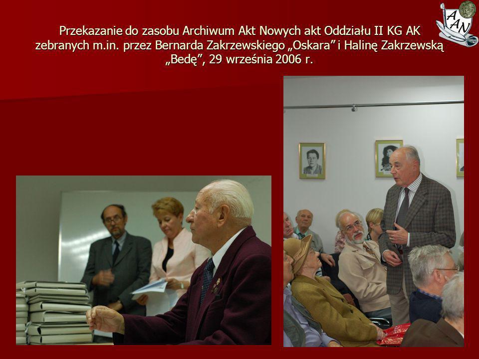 Przekazanie do zasobu Archiwum Akt Nowych Akt Antoniego Pająka i jego rodziny, maj 2007 r.