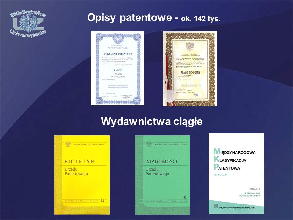 Opisy patentowe - ok. 142 tys. Wydawnictwa ciągłe