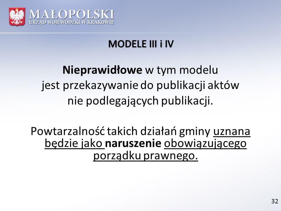 Nieprawidłowe w tym modelu jest przekazywanie do publikacji aktów nie podlegających publikacji. Powtarzalność takich działań gminy uznana będzie jako