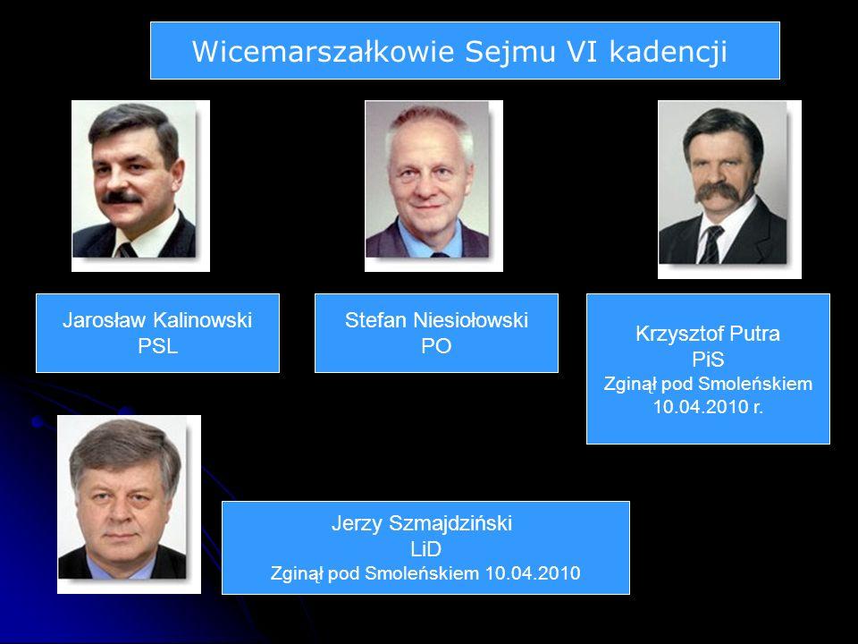 Wicemarszałkowie Sejmu VI kadencji Jarosław Kalinowski PSL Stefan Niesiołowski PO Krzysztof Putra PiS Zginął pod Smoleńskiem 10.04.2010 r.