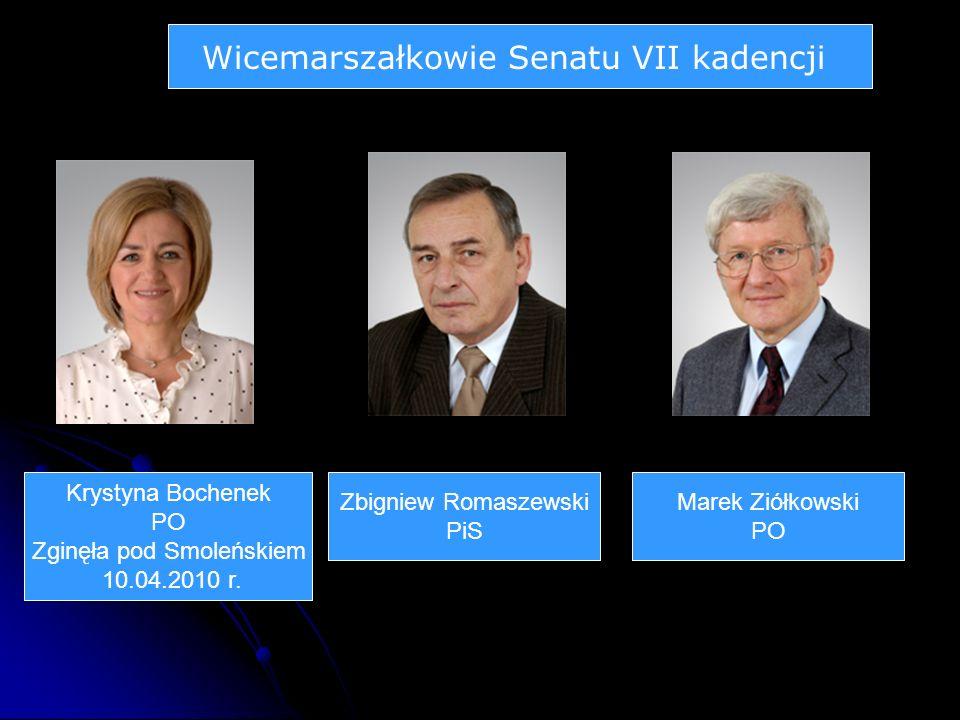 Wicemarszałkowie Senatu VII kadencji Krystyna Bochenek PO Zginęła pod Smoleńskiem 10.04.2010 r.