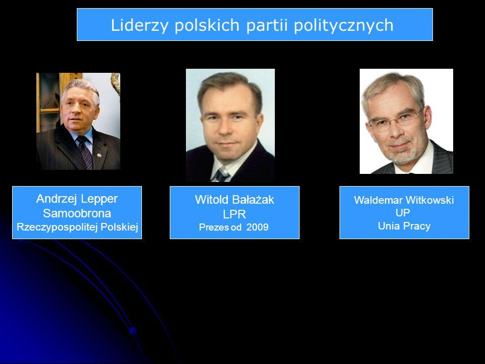 Liderzy polskich partii politycznych Andrzej Lepper Samoobrona Rzeczypospolitej Polskiej Witold Bałażak LPR Prezes od 2009 Waldemar Witkowski UP Unia Pracy