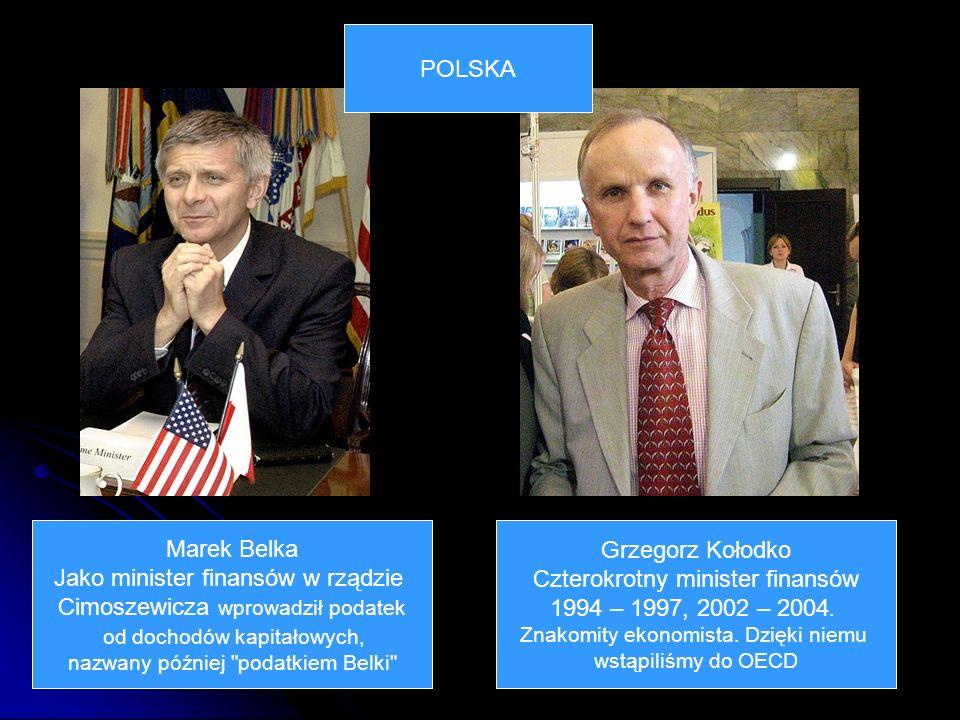 Marek Belka Jako minister finansów w rządzie Cimoszewicza wprowadził podatek od dochodów kapitałowych, nazwany później podatkiem Belki Grzegorz Kołodko Czterokrotny minister finansów 1994 – 1997, 2002 – 2004.