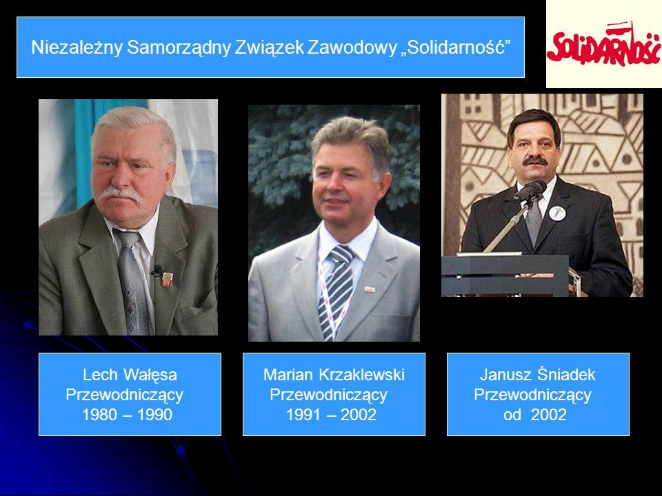 Niezależny Samorządny Związek Zawodowy Solidarność Lech Wałęsa Przewodniczący 1980 – 1990 Marian Krzaklewski Przewodniczący 1991 – 2002 Janusz Śniadek Przewodniczący od 2002