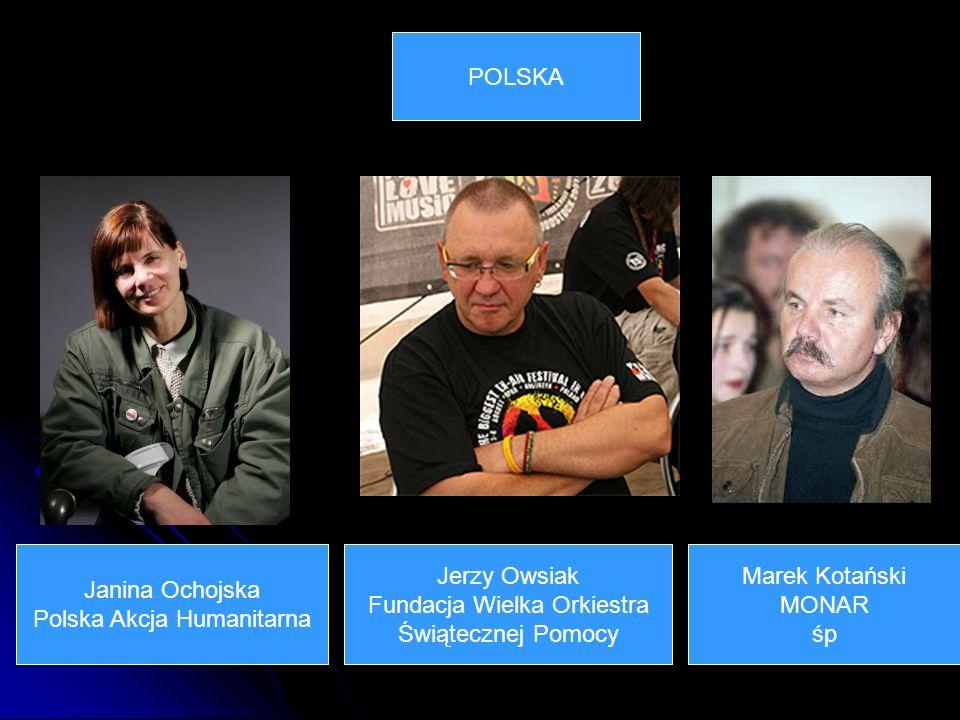 Janina Ochojska Polska Akcja Humanitarna POLSKA Jerzy Owsiak Fundacja Wielka Orkiestra Świątecznej Pomocy Marek Kotański MONAR śp