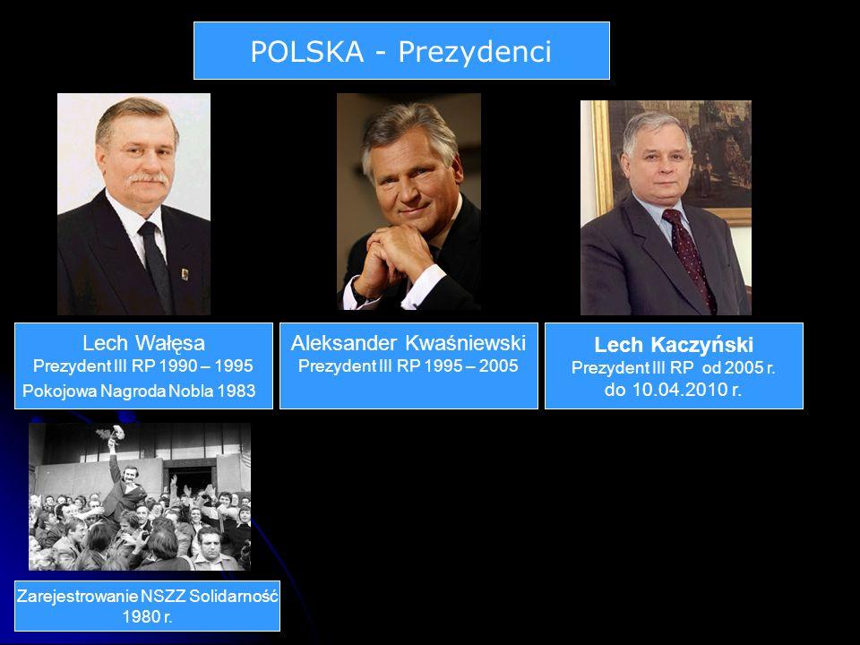 POLSKA - Prezydenci Lech Wałęsa Prezydent III RP 1990 – 1995 Pokojowa Nagroda Nobla 1983 Zarejestrowanie NSZZ Solidarność 1980 r.