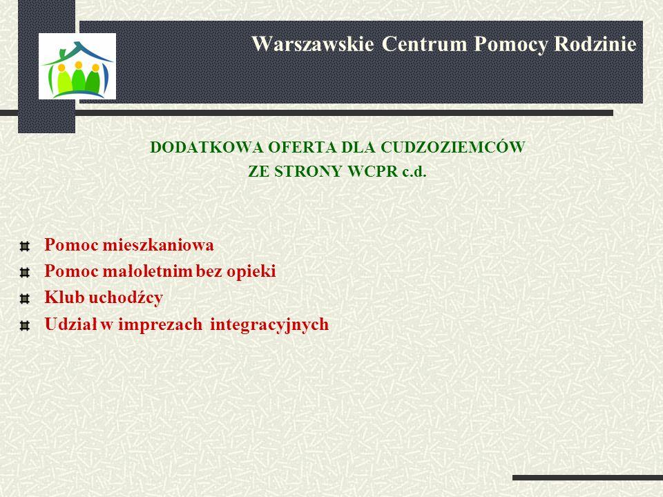 DODATKOWA OFERTA DLA CUDZOZIEMCÓW ZE STRONY WCPR c.d.