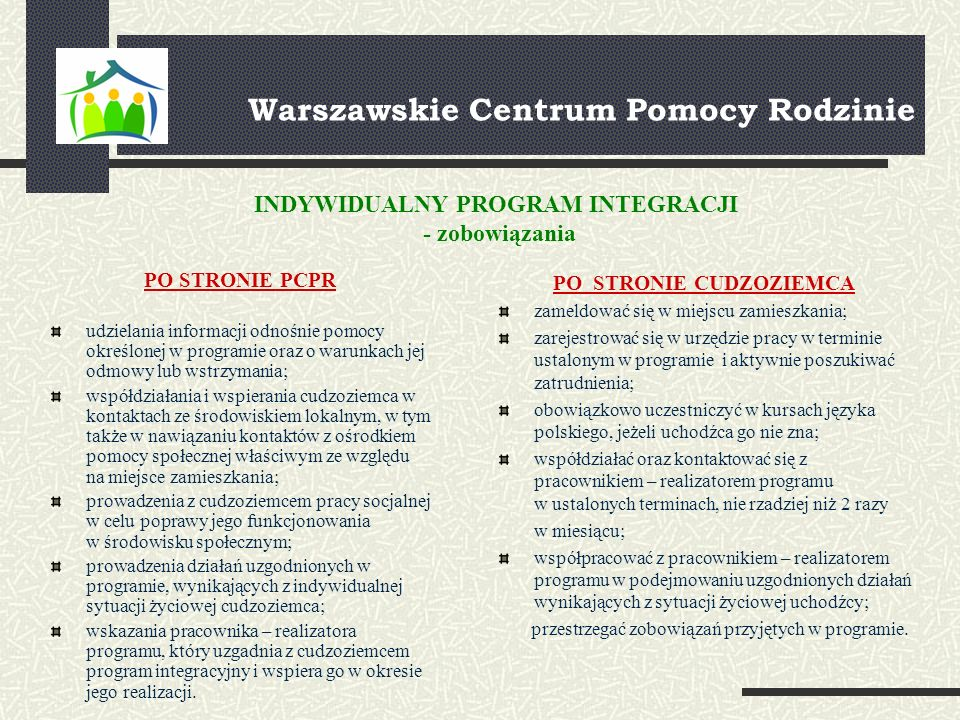 Warszawskie Centrum Pomocy Rodzinie PO STRONIE PCPR udzielania informacji odnośnie pomocy określonej w programie oraz o warunkach jej odmowy lub wstrzymania; współdziałania i wspierania cudzoziemca w kontaktach ze środowiskiem lokalnym, w tym także w nawiązaniu kontaktów z ośrodkiem pomocy społecznej właściwym ze względu na miejsce zamieszkania; prowadzenia z cudzoziemcem pracy socjalnej w celu poprawy jego funkcjonowania w środowisku społecznym; prowadzenia działań uzgodnionych w programie, wynikających z indywidualnej sytuacji życiowej cudzoziemca; wskazania pracownika – realizatora programu, który uzgadnia z cudzoziemcem program integracyjny i wspiera go w okresie jego realizacji.