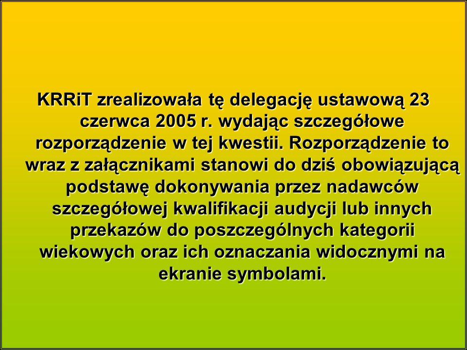 KRRiT zrealizowała tę delegację ustawową 23 czerwca 2005 r.