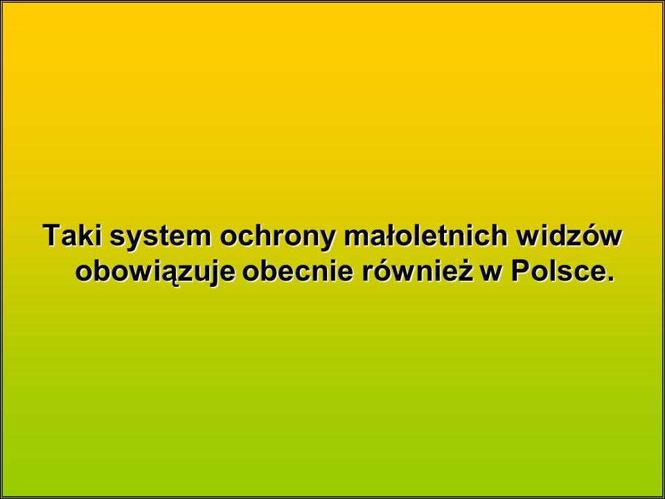 Taki system ochrony małoletnich widzów obowiązuje obecnie również w Polsce.