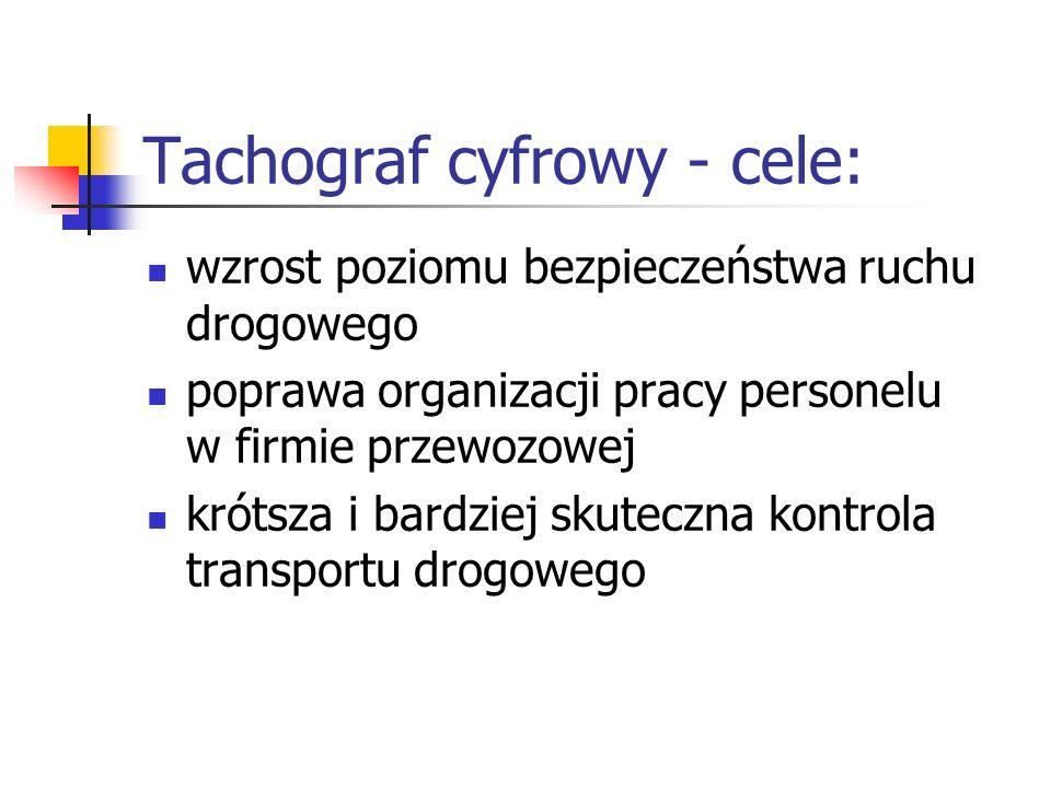 Tachograf cyfrowy - cele: wzrost poziomu bezpieczeństwa ruchu drogowego poprawa organizacji pracy personelu w firmie przewozowej krótsza i bardziej sk