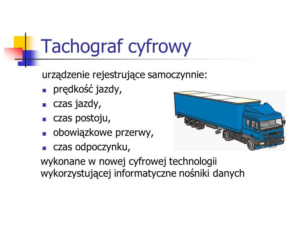 Tachograf cyfrowy urządzenie rejestrujące samoczynnie: prędkość jazdy, czas jazdy, czas postoju, obowiązkowe przerwy, czas odpoczynku, wykonane w nowe