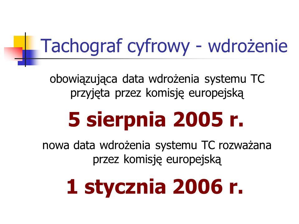 Tachograf cyfrowy - wdrożenie obowiązująca data wdrożenia systemu TC przyjęta przez komisję europejską 5 sierpnia 2005 r. nowa data wdrożenia systemu