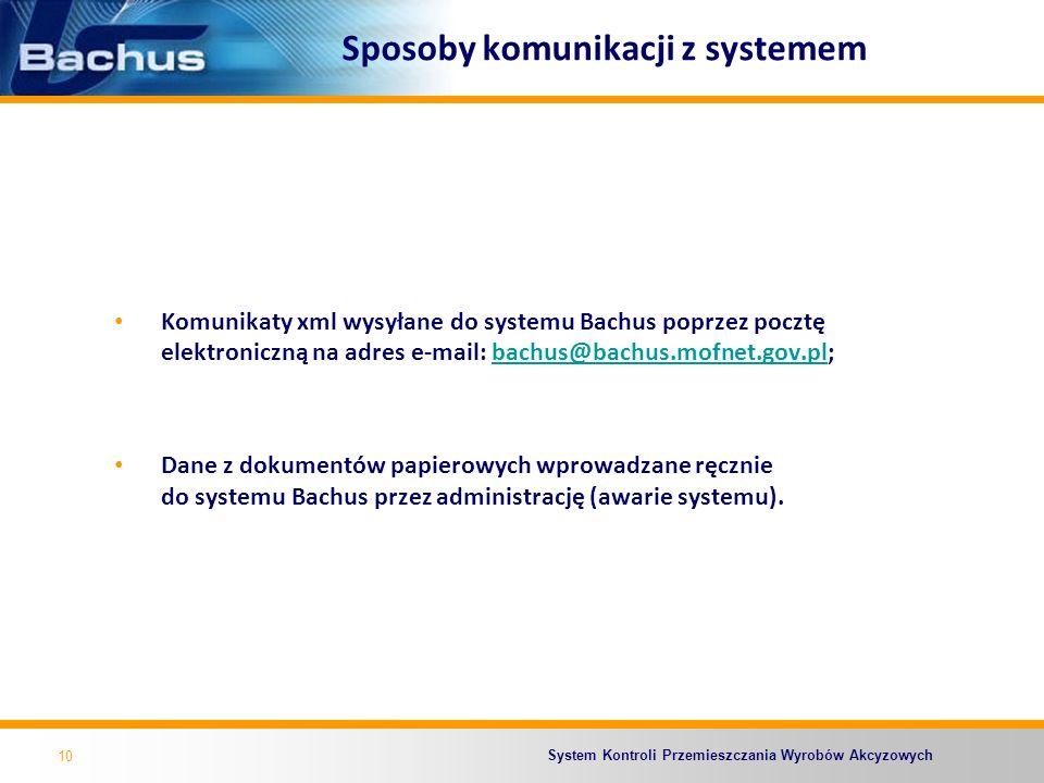 System Kontroli Przemieszczania Wyrobów Akcyzowych Sposoby komunikacji z systemem Komunikaty xml wysyłane do systemu Bachus poprzez pocztę elektronicz