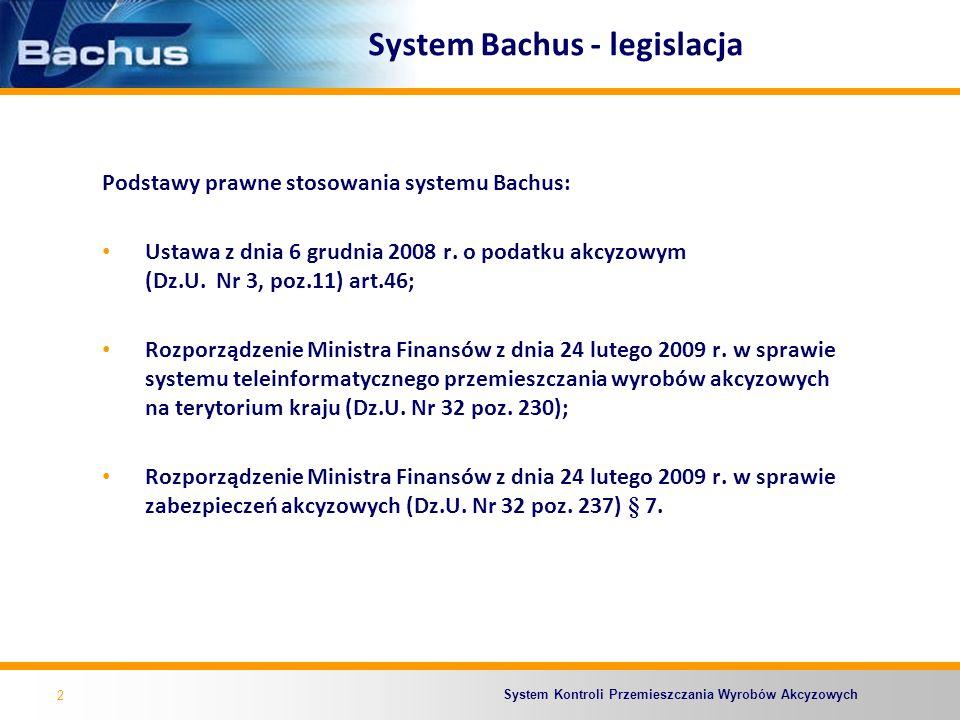 System Kontroli Przemieszczania Wyrobów Akcyzowych System Bachus - użytkownicy Użytkownikami systemu Bachus są: Pracownicy i funkcjonariusze Służby Celnej wykonujący bezpośrednio lub pośrednio zadania związanie z kontrolą wyrobów akcyzowych przemieszczanych z zastosowaniem procedury zawieszenia poboru akcyzy; Podmioty gospodarcze przemieszczający wyroby akcyzowe z zastosowaniem procedury zawieszenia poboru akcyzy.