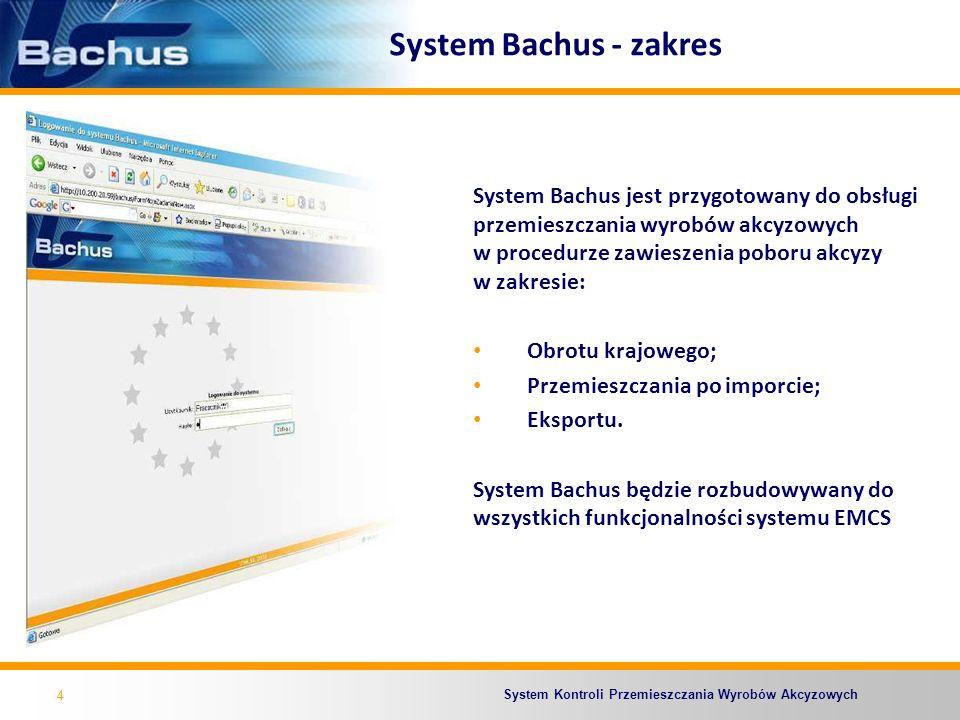 System Kontroli Przemieszczania Wyrobów Akcyzowych 4 System Bachus - zakres System Bachus jest przygotowany do obsługi przemieszczania wyrobów akcyzow