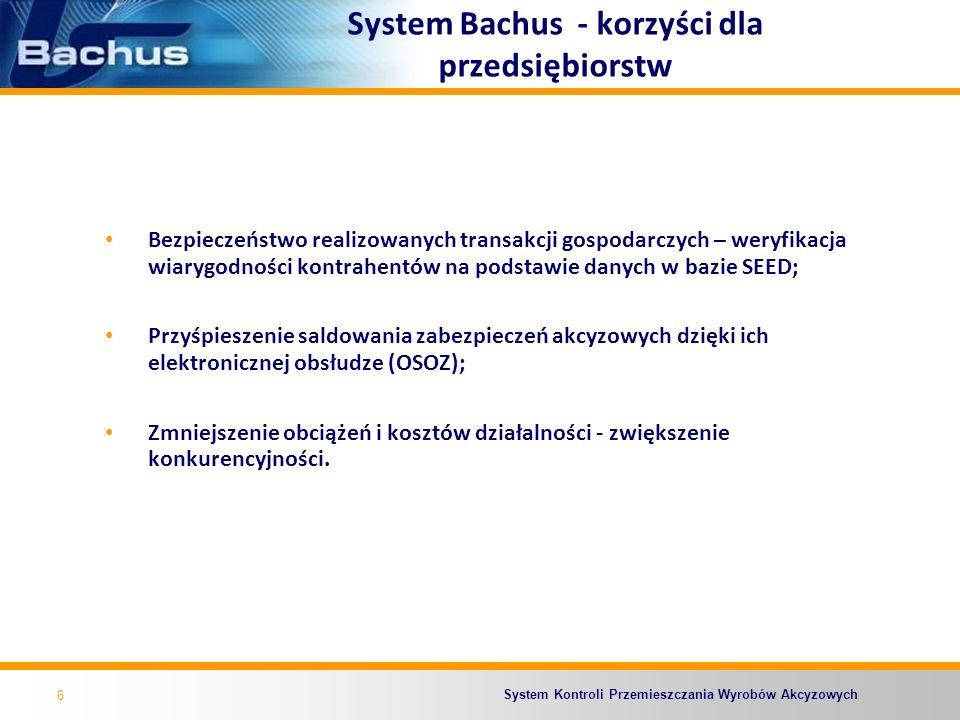 System Kontroli Przemieszczania Wyrobów Akcyzowych System Bachus - korzyści dla przedsiębiorstw Bezpieczeństwo realizowanych transakcji gospodarczych