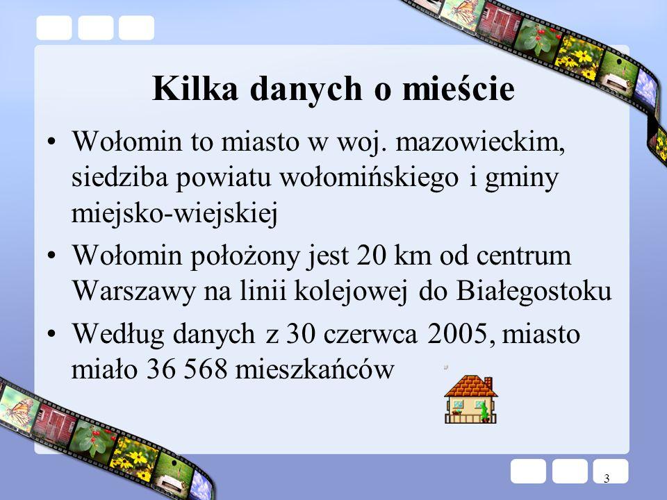 3 Kilka danych o mieście Wołomin to miasto w woj. mazowieckim, siedziba powiatu wołomińskiego i gminy miejsko-wiejskiej Wołomin położony jest 20 km od