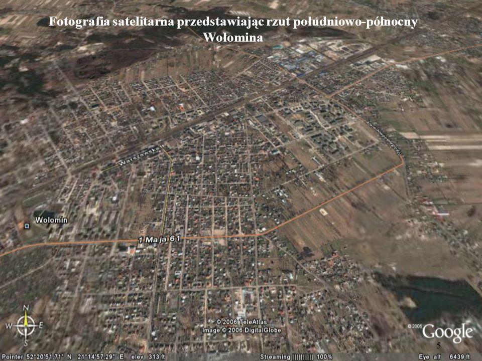 5 Fotografia satelitarna przedstawiając rzut południowo-północny Wołomina
