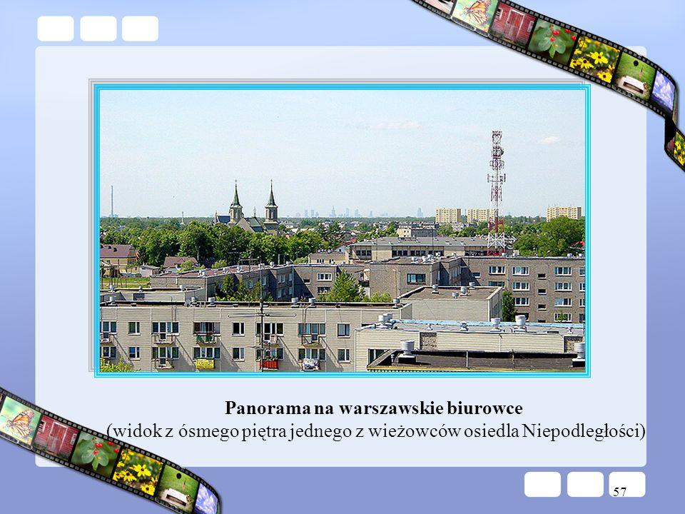 57 Panorama na warszawskie biurowce (widok z ósmego piętra jednego z wieżowców osiedla Niepodległości)