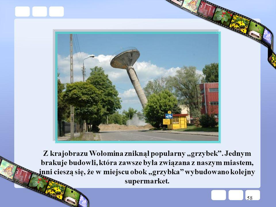 58 Z krajobrazu Wołomina zniknął popularny grzybek. Jednym brakuje budowli, która zawsze była związana z naszym miastem, inni cieszą się, że w miejscu