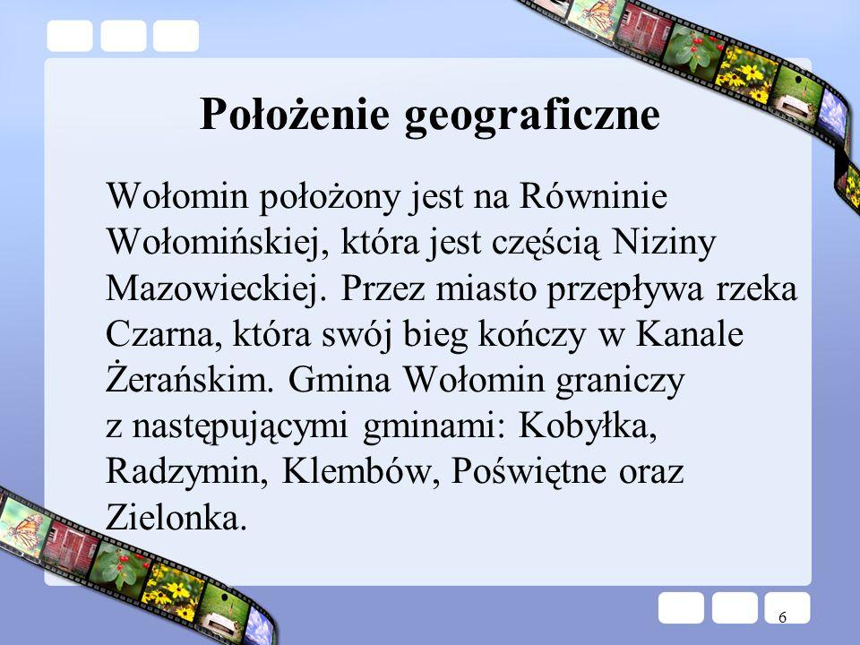 6 Położenie geograficzne Wołomin położony jest na Równinie Wołomińskiej, która jest częścią Niziny Mazowieckiej. Przez miasto przepływa rzeka Czarna,