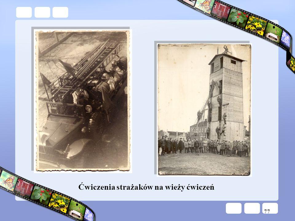 77 Ćwiczenia strażaków na wieży ćwiczeń